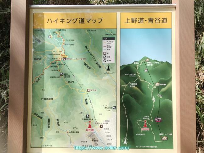 摩耶山ハイキングマップ上野道コース